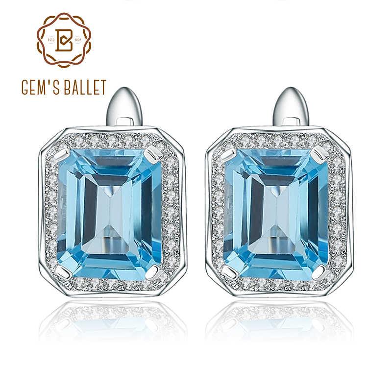 Gem's Ballet 925 Sterling Silver Earrings 8 46Ct Octagon