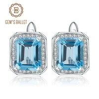 Gem S Ballet 925 Sterling Silver Earrings 8 46Ct Octagon Natural Swiss Blue Topaz Gemstone Clip