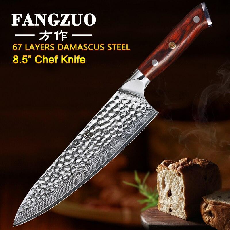 Couteau en acier inoxydable FANGZUO 8.5 pouces à haute teneur en carbone VG10 japonais 67 couches couteau de cuisine couteau de cuisine couteau de cuisine