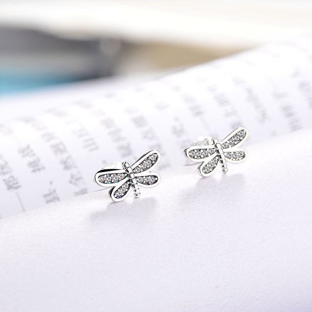 Octbyna Silver Color Brand Pee Dragonfly Stud Earrings Clear Cz Zircon For Women Jewelry Dropshipping