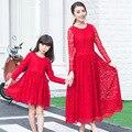 Родитель-ребенок наряд 2016 весной платье кружева милая мать и дочь красный цвет с длинным рукавом платье