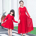 Parent-child outfit 2016  spring dress lace sweet mother and daughter red color long sleeve dress
