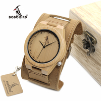 Bobobird Z010 Luxury Brand Design Bamboo Wood Watches Chicago Genuine Leather Bracelets Bands Straps Mens Watches