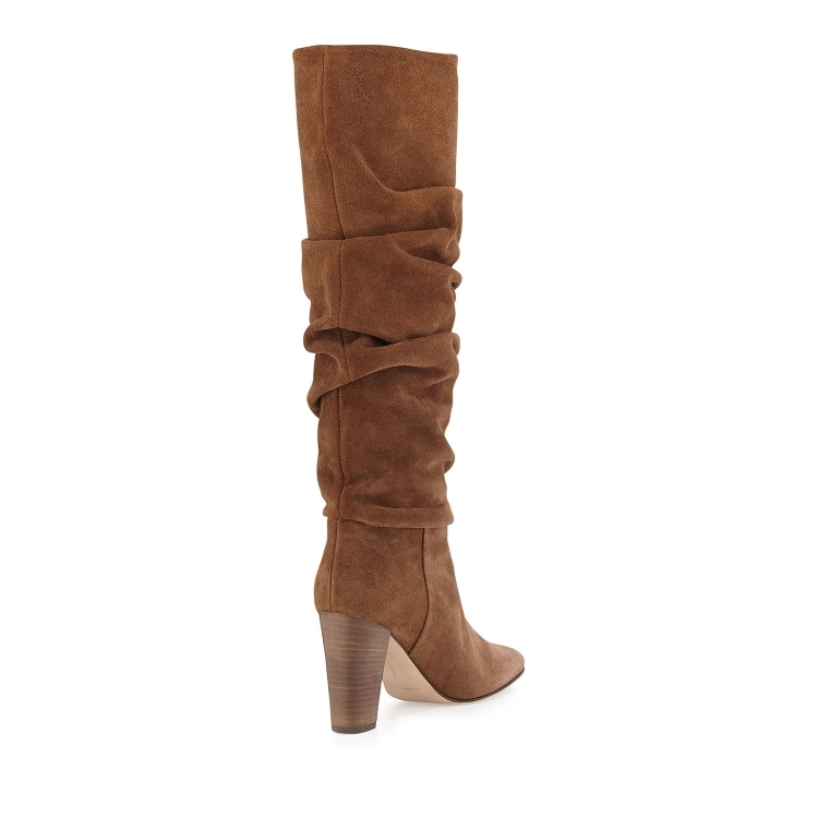 1f9f2c7f1fe Women Chic Coffee Brown Suede Dress Boots Chunky Heels Folded Knee High  Boots Thick High Heel Pleated Tall Boots Gladiator Heels