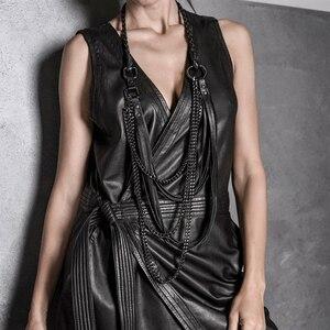 Image 1 - YD & YDBZ جديد طويل جلدية قلادة المرأة مجوهرات فاخرة اليدوية مصمم قلادة قلادة الجلود و سلسلة الشرير نمط المختنق