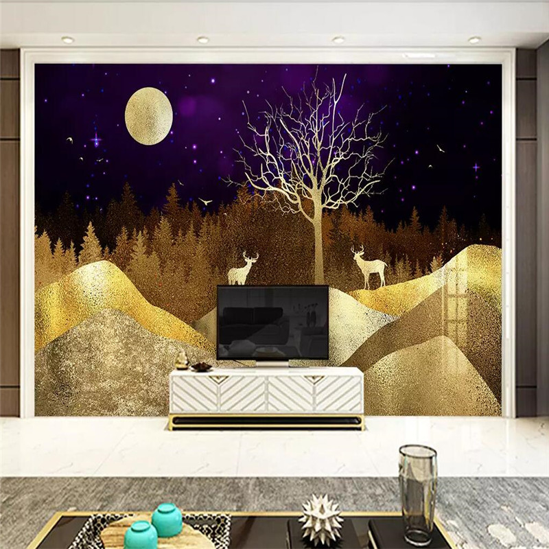 New Chinese abstract golden landscape wealth tree elk background wall professional making mural photo wallpaper in Fabric Textile Wallcoverings from Home Improvement