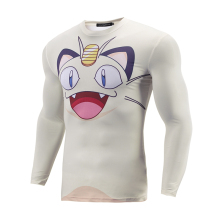 Men 3D Pokemon Pikachu & Meowth Tight T Shirt
