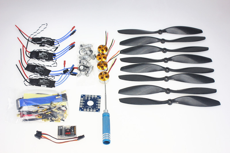 F02015-D 4 Axis Foldable Rack RC Quadcopter Kit with QQ Super Flight Control+1000KV Brushless Motor + 10x4.7 Propeller + 30A ESC rc helicopter kit 4 axle apm2 8 flight control board gps 1000kv brushless motor 10x4 7 propeller 30a esc foldable rack f02015 h