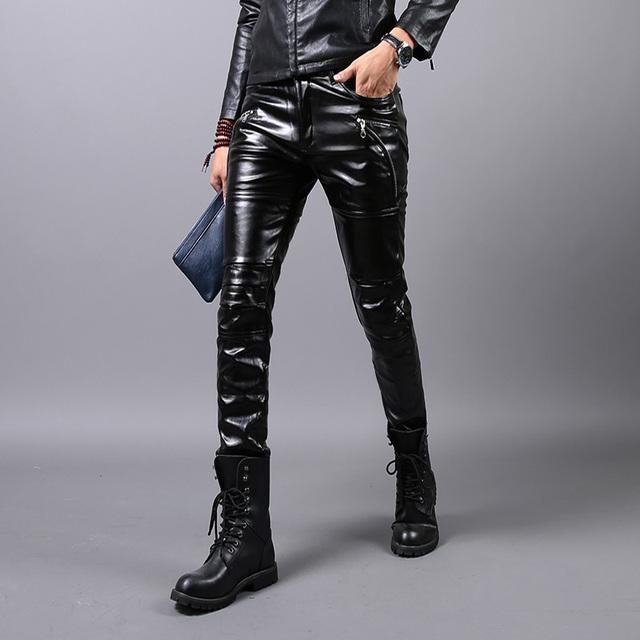 Lederhosen estilista pantalones de cuero de la motocicleta hombres cultivo de invierno masculina, además de terciopelo leggings de cuero pantalones pies pantalones marea