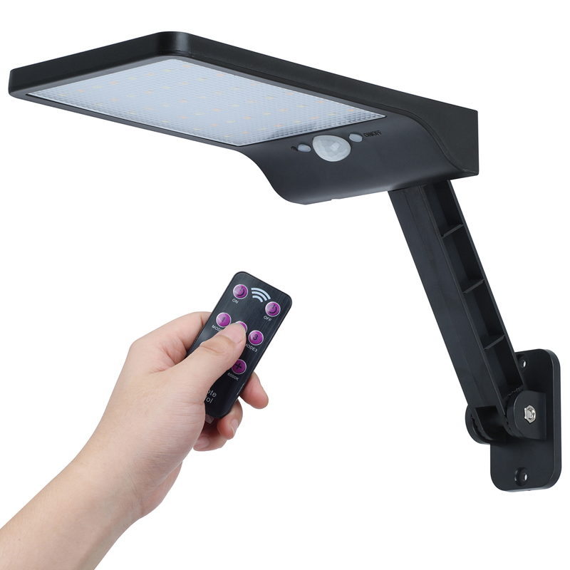 QLTEG 450 LM 48 LED Solar Power Street Light PIR Motion Sensor Wall Lamp Outdoor Waterproof Remote Control Rotate Bracket