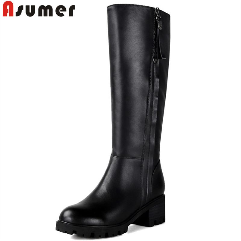 ASUMER black fashion knee high boots women round toe zip pu+cow leather boots square high heels ladies keep warm winter boots  ASUMER black fashion knee high boots women round toe zip pu+cow leather boots square high heels ladies keep warm winter boots