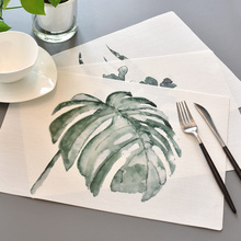 Soft PVC Mat Plant Printing Dinner Table Placemat Waterproof Non-Slip Heat Resistant Placemats For Table Bowl Pad 1pc