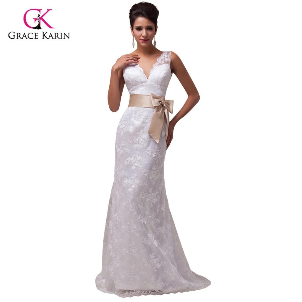 Vestidos de novia de encaje 2017 grace karin backless blanco marfil ...