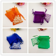 100pcs Gift Bag Organza Packaging Bags White Christmas Favor Party Wedding Decoration Jewelry Pouches