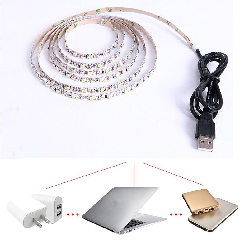 DC 5V USB LED Strip SMD 3528 Flexible Light Lamps LED Light TV Background Lighting Adhesive Tape 50CM 1M 2M 3M 4M 5M