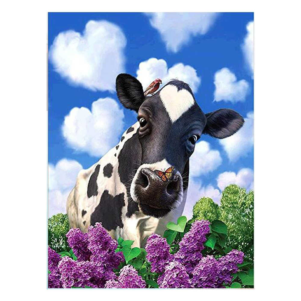 ZOOYA 5D Diamond Painting by Number Diamond Embroidery Mosaic Paintings Pictures Arts Home Decor Full Square Drill Colorful Cow