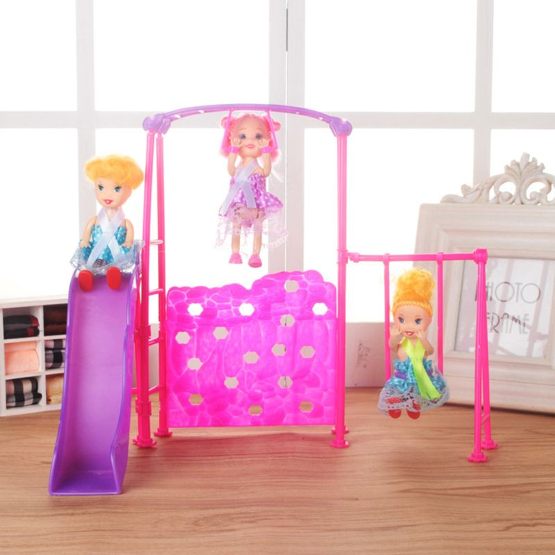 Funny Playground Hand Ring Slide Swing Toys Doll House Pretend Play Dolls Accessories For Barbie 1/6 Doll Kelly Girl Toys Gift(China)