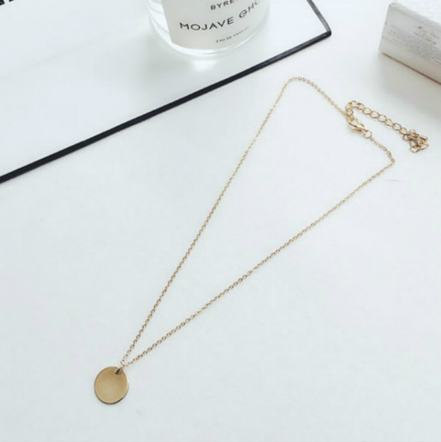 Punk Silver Gold Color Coin Necklace Dainty Disc Pendant Necklace Minimalist Gold Coin Layering Necklace Everyday Jewelry 2