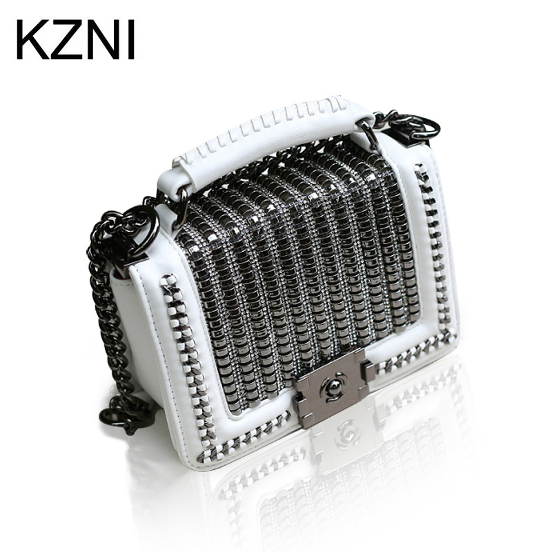 KZNI Genuine Leather Women Bag Chain Rivet Crossbody Bag Women Messenger Purses and Handbags Summer Sac a Main Femme 9159-22 kzni genuine leather bag female women messenger bags women handbags tassel crossbody day clutches bolsa feminina sac femme 1416
