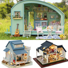 Doll House Case Miniature DIY Dollhouse With Furnitures LED Light Building Kits House Model Christmas Gift Toys For Children #E(China)