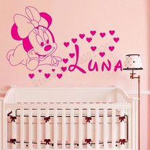 Cartoon Animal Wall Sticker Minnie Mouse With Personalized Name Heart Home Decor For Kidsroom Babyroom Ornament Poster LY914
