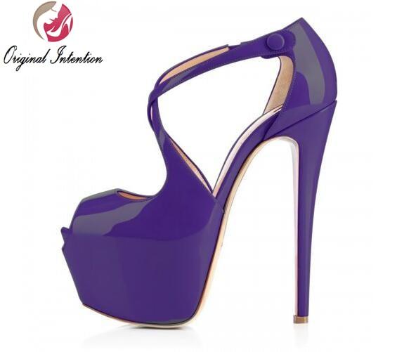 ФОТО Original Intention New Elegant Women Sandals Platform Open Toe Spike Heels Sandals 8 Colors Shoes Woman Plus Size US 4-15