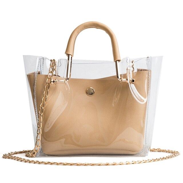 Summer Crossbody Women Transparent Jelly Composite Bag Chain Beach Bags Fake Designer Handbags Sac Homme