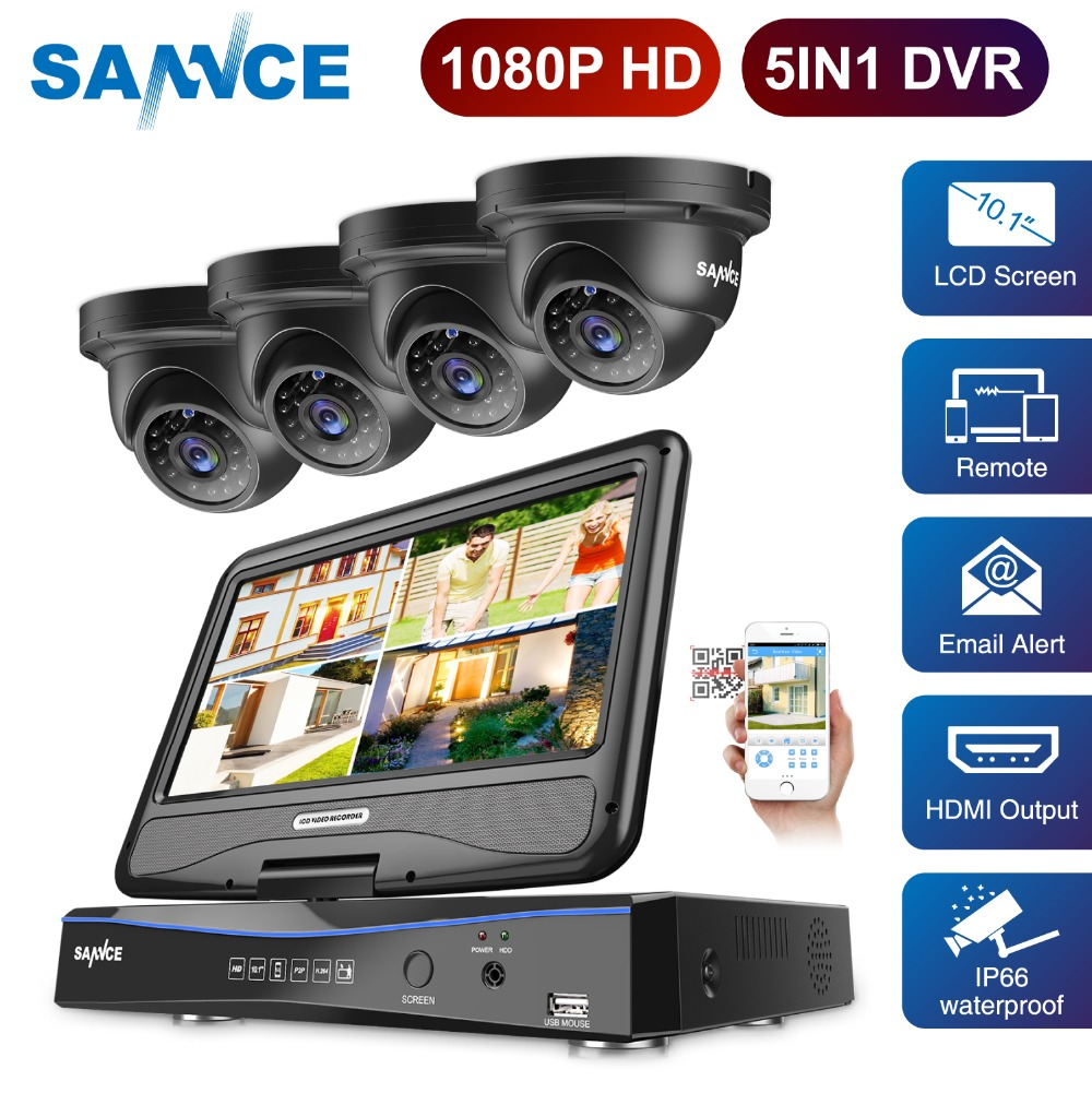Sannce FHD DVR Kit 4CH 1080P 5 in 1 Security System TVI DVR 10'1 Inch LCD H.264 IP66 Weatherproof CCTV Monitor Dome Camera Set цена