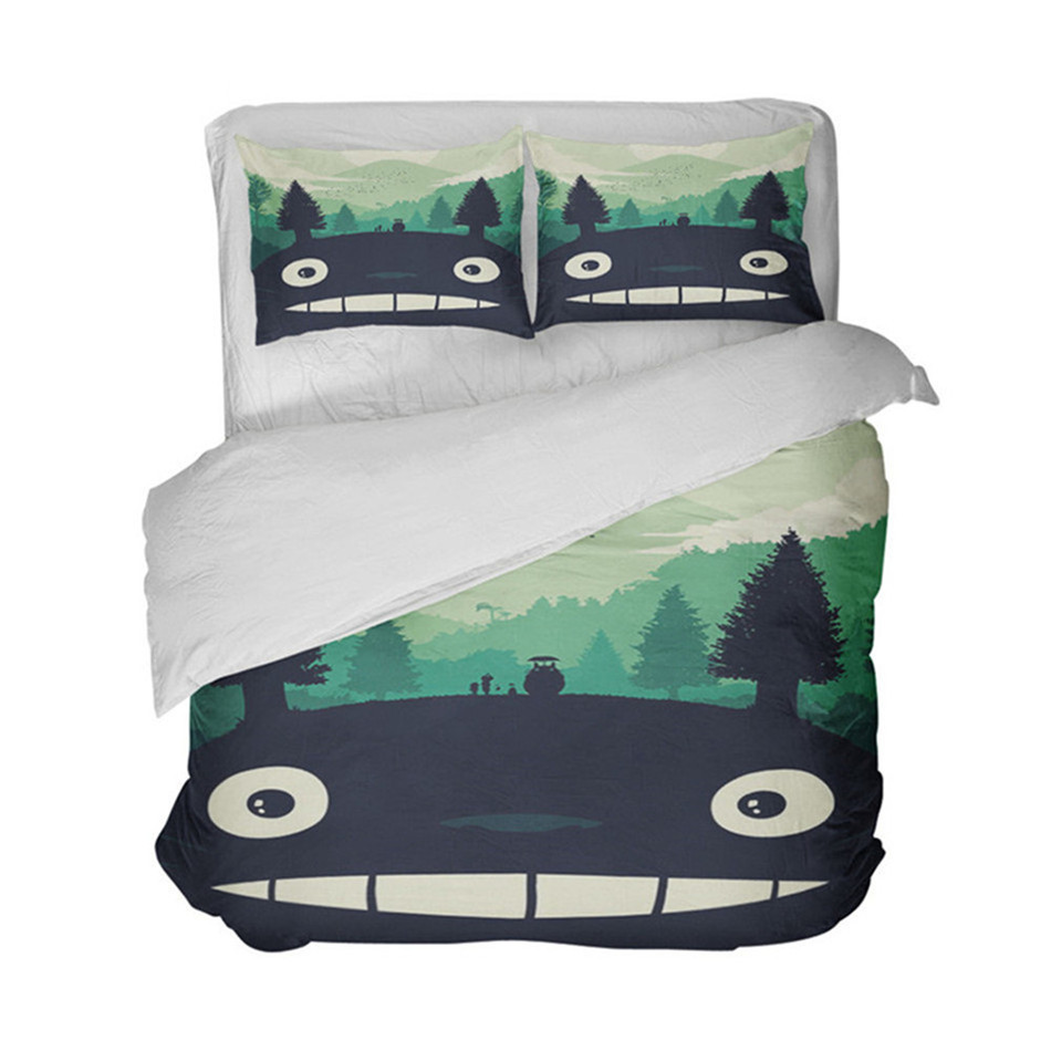 Cute Totoro Bedding Set Green Natural Scenery Duvet Cover Set Kids Cartoon Bedding Cover Pillowcase Home Decor in Bedding Sets from Home Garden