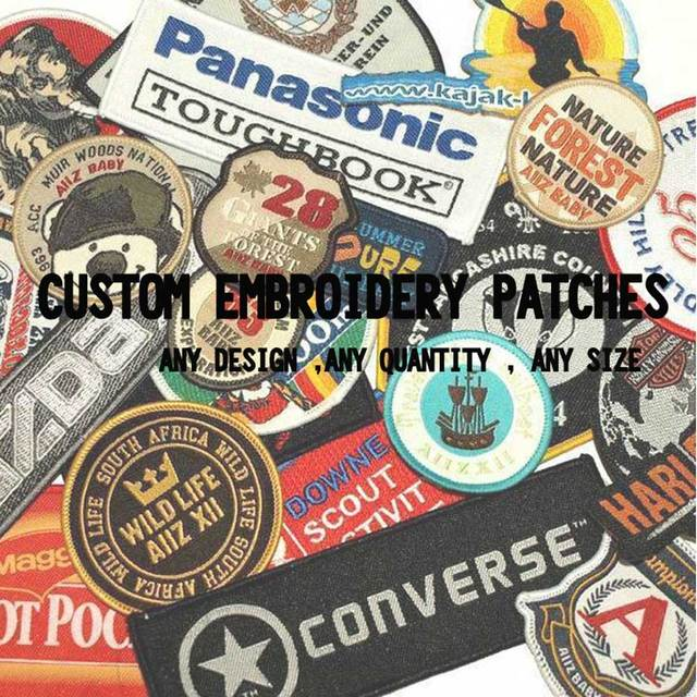 US $1 0  custom embroidery patches iron on hook backing with your own logo  design personalized team club school logo-in Patches from Home & Garden on