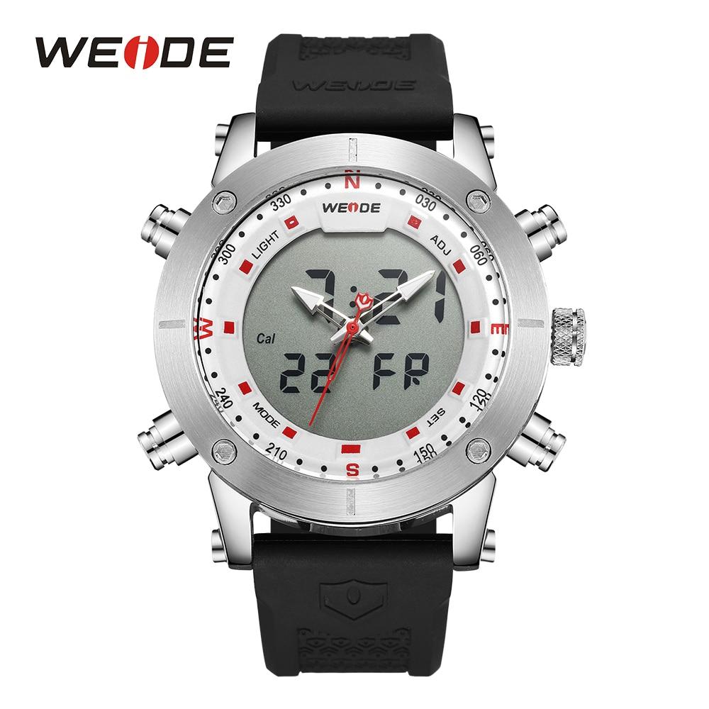 WEIDE Men Sport Watch Quartz Alarm Stopwatch Chronograph Backlight Date LCD Digital Analog Rubber Band Buckle Outdoor Wristwatch