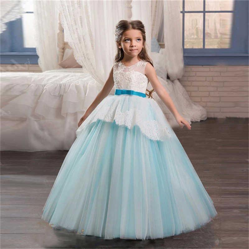 Flower Girl Long Dress Christmas Party Wear Kids Clothes Tutu Dresses For Girl  Frocks Children s Costume f2b8bf542e90