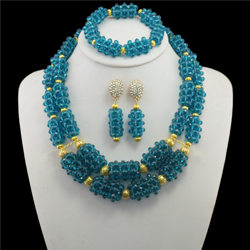 цена на Nigerian Wedding African Beads Jewelry Set Crystal Peacock blue Necklaces Earrings With Crystal Beads for Women