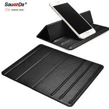 Фотография sauceda Universal Tablet Phone Desktop Stand For macbook 13 12 inch for ipad pro 12.9 10.5 Holder Stand Mount Mircofiber Leather