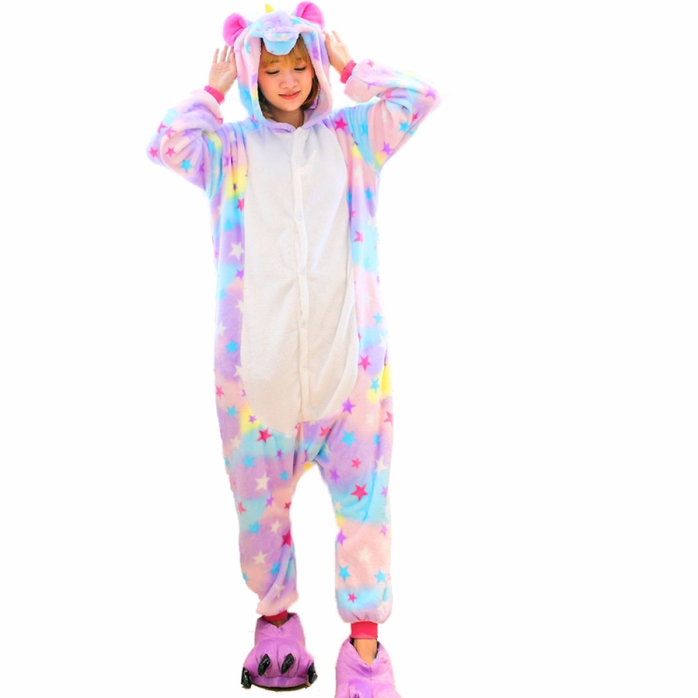 2018 New Kigurumi adult Pajama Unicorn Onesie Wholesale Animal Stitch Star onesies Unise ...