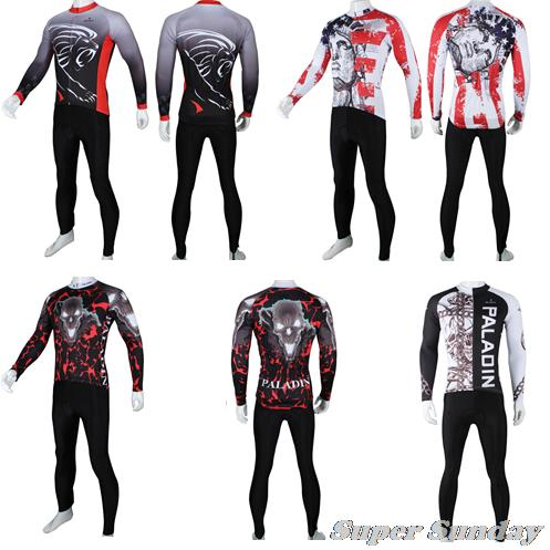 PALADIN Mens Cycling Clothings Autumn Biking Clothes Long Sleeve Bicycle Jerseys Winter Fleece Bike Riding Set Free Shipping