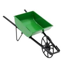 Odoria – brouette à roues vertes Miniature 1:12, chariot à pousser pour maison de poupée, accessoires de jardin féerique