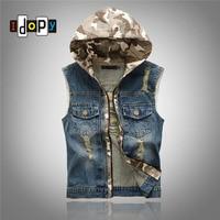 Cool Mens Denim Jean Vests Hooded Camo Distressed Ripped Acid Washed Vintage Blue Zipper Closure Hoodie Sleeveless Jacket