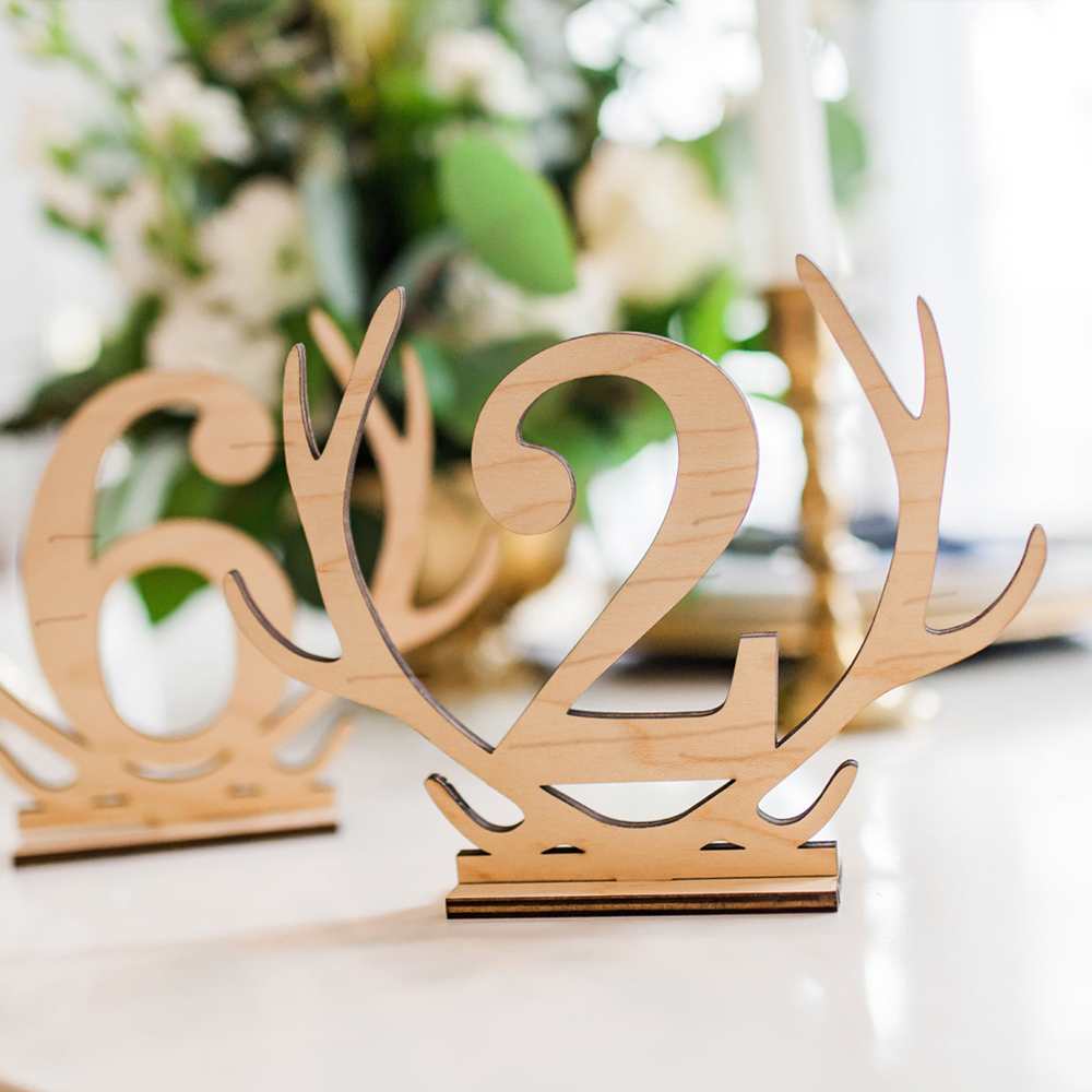 1-20 Numbers Signs Wedding Antlers Shape Table Number Wooden Table Number Rustic Wedding Seat Numbers Party Direction Signs