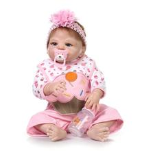 Lifelike Reborn Doll Full Body Silicone Baby Girl Blue eyes Anatomically Correct,23-Inch,Could take Bath