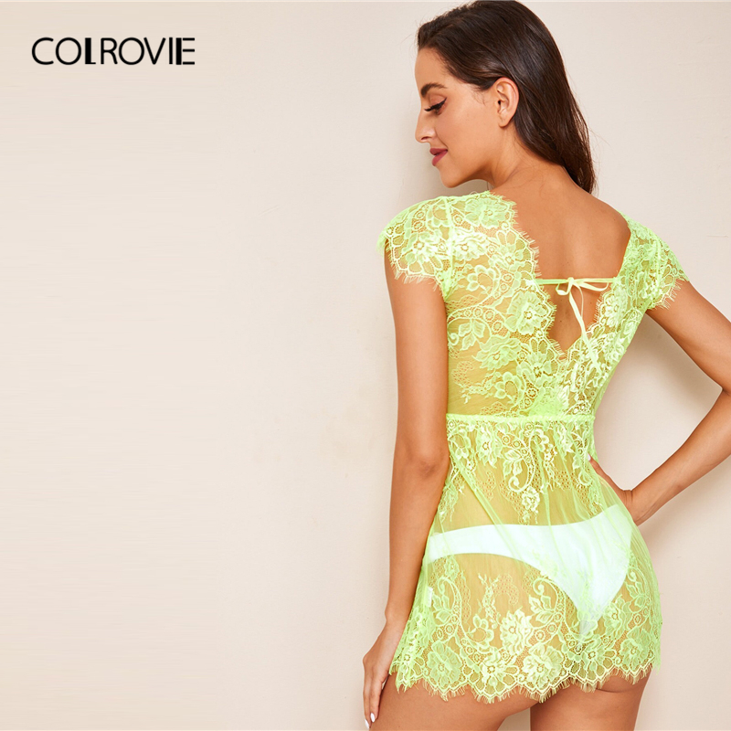 Image 2 - COLROVIE Neon Lime Floral Lace Dress With Thong Women V Neck Solid Sheer Babydolls 2019 Summer Sexy Night Dress-in Nightgowns & Sleepshirts from Underwear & Sleepwears
