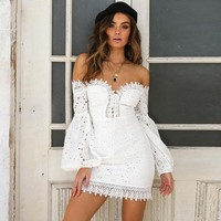 Women Lace Up Dress Off Shoulder Bodycon 2018 Lantern Sleeve Ruffle High Waist Skinny Beach Club Sexy Hollow Chic White Dresses