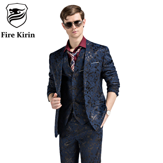 Fire Kirin Mens Suits Slim Fit 3 Piece Wedding Suits For Men Brand Mens Black Royal Blue Tuxedo Jacket Costume Homme 2017 Q89
