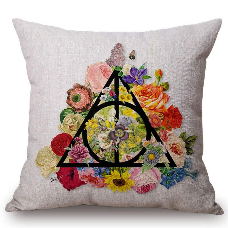 76153a9be94b Kwiatowy Wzór Harry Potter Insygnia śmierci Sofa Poduszki ...