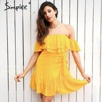Simplee Off Shoulder Backless Summer Dress Women 2017 Lace Up Sash Ruffle Sexy Black Dress Zipper