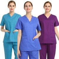 Summer Nurse Uniform Hospital Medical Scrub Set Doctor's Clothes in Cotton Short Sleeve
