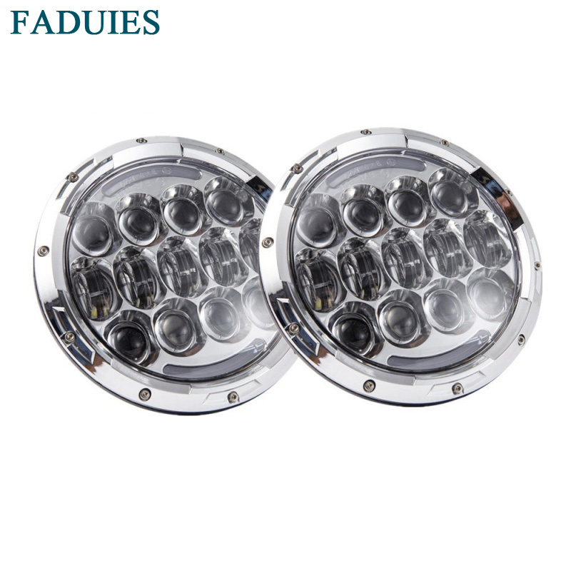 FADUIES Chrome 2Pcs 7 Inch 105W LED Headlight Hi/Lo Beam DRL with amber turn signal For 97-16 Jeep Wrangler JK TJ