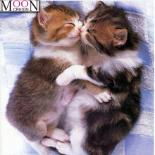 New DIY Diamond Painting Cross Stitch Two sleeping kittens Full Square Drill Embroidery Animal Series Home Decor