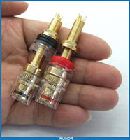 10PCS Large 24K Copper Binding Post For Speaker Power Amplifier 4MM Banana Plug