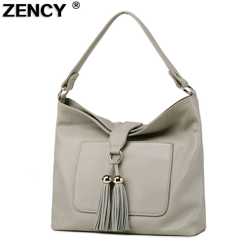 ZENCY First Layer Soft Genuine Cow Leather Women's Shoulder Tassel Bags Tote Handbags Ladies Messenger Casual Bag Satchel Bolsos zency new women genuine leather shoulder bag female long strap crossbody messenger tote bags handbags ladies satchel for girls
